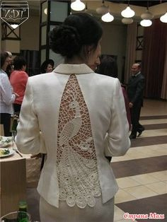 """Ажурные вставки """"redesign remake upcycle details lace crochet Комментарии к теме"""", """"Beautiful repurpose of a too tight jacket"""", """"// Pinned by Ellen R Sewing Clothes, Crochet Clothes, Diy Clothes, Remake Clothes, Crochet Jacket, Knit Crochet, Crochet Style, Irish Crochet, Crochet Pattern"""