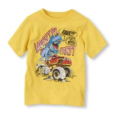 His two faves - a monster party and truck - on a cool tee he