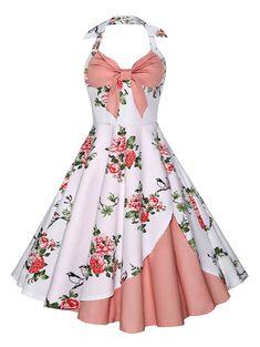 Vintage Halter Floral Print Dress - PINK S