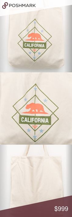 "LAST ONE NWT Roxy Tote Bag NWT.  California bear graphic screened on front.  14.5"" L x 14.5"" W. Roxy Bags Totes"