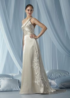 Charmeuse One-shoulder Ruffled Bodice Column Wedding Dress $259.00