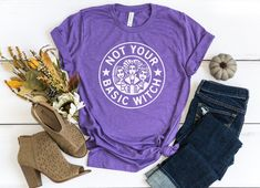 Not Your Basic Witch Shirt, Basic Witch Shirt, Starbucks Halloween, Hocus Pocus Shirt, Halloween T-Shirt, Hocus Pocus, Funny Halloween Shirt  #hocuspocus #halloweenshirt #halloweencostumes #notyourbasicwitch Starbucks Halloween, Funny Halloween, Halloween Shirt, Halloween Quotes, Bff Shirts, Best Friend Shirts, Sorority Shirts, Hocus Pocus Shirt, Bridesmaid Tanks