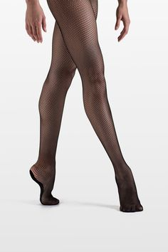 aa8ec3b1549 Black Fishnet dance tights with full sole to maximize comfort. Ballet Tights