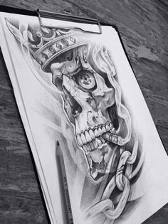 Marked for Life: Tattoos and Gangs Head Tattoos, Skull Tattoos, Body Art Tattoos, Chicano Tattoos, Chicano Art, Chicano Drawings, Skull Tattoo Design, Tattoo Designs, Tattoo Sketches