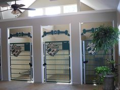 These stylish dog kennel gates are installed on built-in kennel/suites! An open. These stylish dog kennel gates are installed on built-in kennel/suites! An open design allows for Custom Dog Kennel, Dog Kennel Designs, Dog Kennel Cover, Kennel Ideas, Dog Boarding Kennels, Pet Boarding, Dog Kennels, Animal Boarding, Animal Room