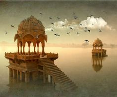 """""""The Golden City"""", is a town in the Indian state of Rajasthan. It is located 575 kilometres (357 mi) west from the state capital Jaipur. It was once known as Jaisalmer state. The town stands on a ridge of yellowish sandstone, crowned by a fort, which contains the palace and several Hindu temples. Many of the houses and temples are finely sculptured. It lies in the heart of the Thar Desert ."""
