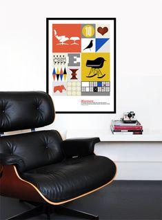 Eames poster print mid century modern kitchen art retro por yumalum, $55.00