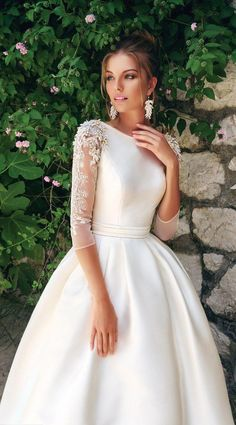 Wonderful Absolutely Free Wedding Dress Inspiration Suggestions A Good Way . - Wonderful Absolutely Free Wedding Dress Inspiration Suggestions A great way to check on is moving i - Pink Wedding Dresses, Wedding Dresses Plus Size, Designer Wedding Dresses, Bridal Dresses, Gown Wedding, Modest Wedding Gowns, Lace Wedding, Bridal Gown, Sleeved Wedding Dresses
