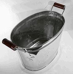 Fleur de Lis Oval Galvanized Metal Party Beverage Tub