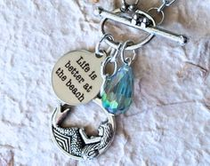 $17.00.  SANDY BEACH mermaid necklace Life is Better at the by MimiJewels