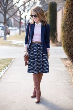 Preppy Layers | polka dot blue and white blouse with tall cognac brown boots, belt, pink collared blouse, navy blazer