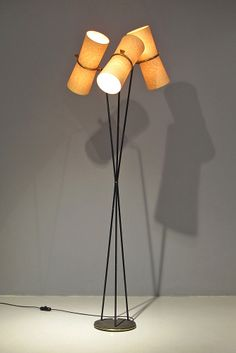 Boris Lacroix; Brass, Paper and Painted Metal Floor Lamp, c1950.