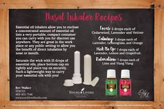 Nasal Inhaler recipes with Young Living Essential Oils!
