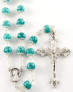 Our Lady of Lourdes Finger Rosary Ring Silver and Blue Metal Pocket Rosary