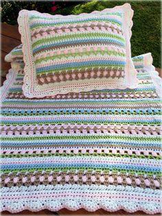 Crochet Pattern - Crochet Baby Blanket Pattern - Crochet Baby Pillow Pattern - Charlotte's Garden Baby Blanket - pinned by pin4etsy.com