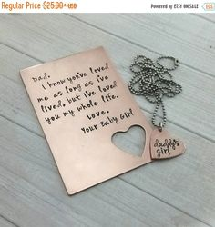 Copper wallet card with heart necklace,  hand stamped wallet insert, copper wallet insert,  copper love note, seventh anniversary gift