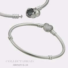 "Authentic Pandora Sterling Silver C.Z Pave Heart Bracelet 7.9"" 590727CZ-20 #Pandora"