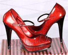 Retro Shoes - Pleasure-02 Metallic Red Peep Toe Mary Jane Shoes with 5 inch Heel