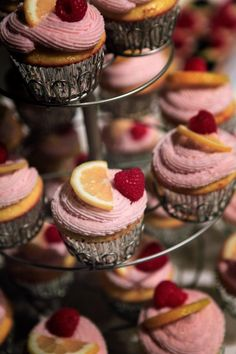 Lemon Cupcake topped with a raspberry liqueur spiked frosting.