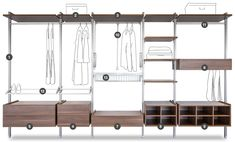 Maximise the storage potential of any space with our Style of fitted wardrobe internal storage solutions including shelves, rails, drawers and shoe racks. Modular Storage, Storage Shelves, Shelving, Shelf, Wardrobe Storage, Bedroom Storage, Built In Wardrobe Ideas Layout, Wardrobe Images, Wardrobe Systems