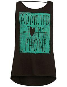 FULL TILT Addicted To My Phone Girls Bar Back Tank // TILLY'S
