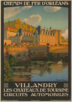 chemins de fer d'orléans - Villandry -  Les châteaux de Touraine - illustration de Constant Duval - 1923 - France -