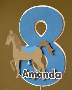 Pony Birthday Supplies,  Horse Birthday Party Supplies - Cake Topper Decoration 3-D - CUSTOM Name/Age