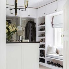 Closet Built In Window Seat with Shoe Shelf, Transitional, Closet