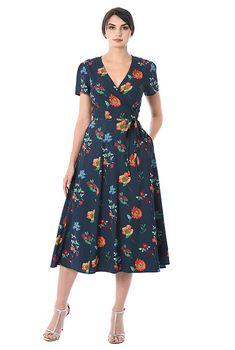 I this Floral print crepe midi wrap dress from eShakti Lovely Dresses, Modest Dresses, Simple Dresses, Elegant Dresses, Vintage Dresses, Casual Dresses, Fashion Dresses, Summer Dresses, Wrap Dresses