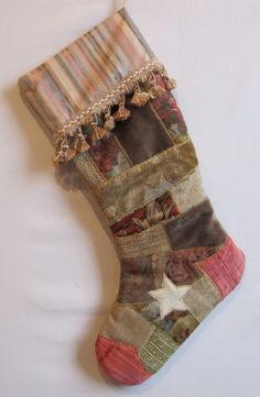 Fabric art quilt Christmas stocking in rose and grey patchwork with cream star and fancy tassel trim Natural Christmas Ornaments, Christmas Decorations, Holiday Decor, Sewing Projects, Projects To Try, Quilted Christmas Stockings, Fabric Art, Tassel, Quilting