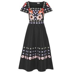 Temperley LondonSylvie Embroidered Cotton And Silk-blend Dress (19.465 RUB) ❤ liked on Polyvore featuring dresses, black, floral embroidered dress, military style dress, bohemian dresses, multi-color dresses and embroidery dress