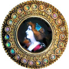 Button--Large Late 19th C. Deluxe Limoges Enamel Lady in Brass with Natural Opal Border ~ Copyright rclarner
