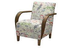 Bastien Lounge Chair, Blue/Cream/Coral on OneKingsLane.com