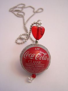 Coca Cola Classic Bottle Cap Bead with heart by onceapaulatime, $26.00