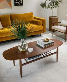 Living Room Sofa, Home Living Room, Living Room Decor, Bedroom Decor, Dining Room, Interior Design Living Room, Living Room Designs, Gold Couch, Mid Century Modern Living Room