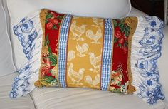 French Country Chicken Ruffled Pillow