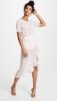 4eb562d0f2ded1 For Love & Lemons Dorothy Ruffle Midi Dress Pink Gingham, Gingham Dress,  Pink Midi