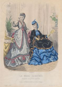 1871.Antique Paris Ladies Fashion Plate No 52. La Mode by SGPrints