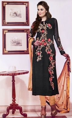 Rang Georgette Designer with Embroidery Work Suit