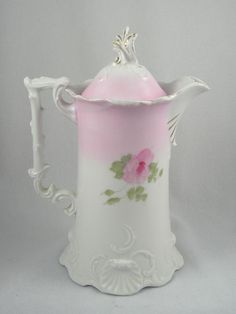 pink roses coffee pot