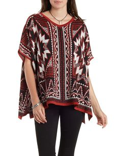 Aztec Poncho Sweater by Charlotte Russe - Orange Combo