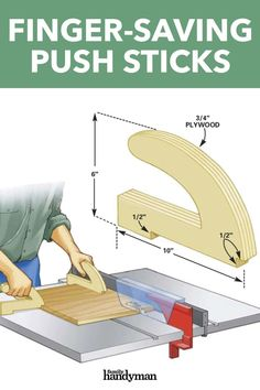 New Woodworking Tools Finger-Saving Push Sticks.New Woodworking Tools Finger-Saving Push Sticks Woodworking Jig Plans, Awesome Woodworking Ideas, Woodworking For Kids, Woodworking Techniques, Woodworking Workshop, Easy Woodworking Projects, Woodworking Furniture, Diy Furniture, Diy Projects