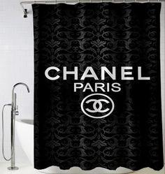 Dark Vintage Vector Background logo chanel Shower Curtain