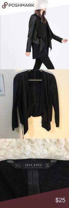 Zara Black Leather Jacket Bought in Paris, France. Lightweight leather jacket. Never been worn. Zara Jackets & Coats