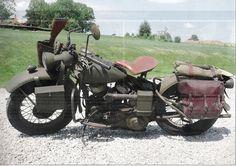 Vintage Color Print of a WWII Harley- Davidson WLA Motorcycle