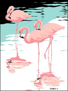 "Pink Flamingos tropical 1980s 9""x12"" pop art nouveau graphic art retro stylized florida scene print. $50.00, via Etsy."