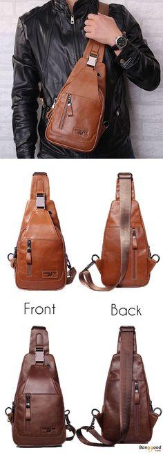 MINGXIN mens PU leather backpack big capacitu multi-functional travel outdoors