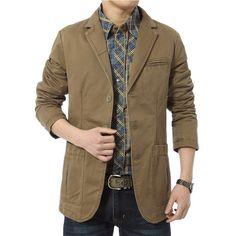 Blazer Men Casual Suit Cotton Denim Parka Men's Slim Fit Jackets Army Green