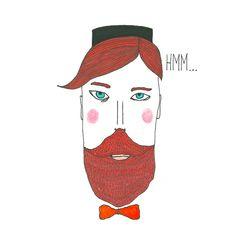 Illustration Print Portrait Lobby Boy Mustache Boy Print Drawing Beard Wall Decor Kitchen Decor Wall Art Gold Hipster von paulinepolom auf Etsy