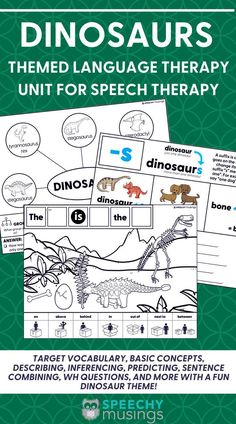 If you need a fun way to mix up your speech therapy sessions, this Dinosaur themed language therapy unit for speech therapy is what you need! This speech therapy activity resource targets a variety of topics including vocabulary, basic concepts, describing, inferencing, predicting, sentence combining, wh questions, and more with a fun dinosaur theme! Preschool Speech Therapy, Articulation Therapy, Speech Therapy Activities, Language Activities, Receptive Language, Speech Language Pathology, Speech And Language, Figurative Language Activity, Wh Questions
